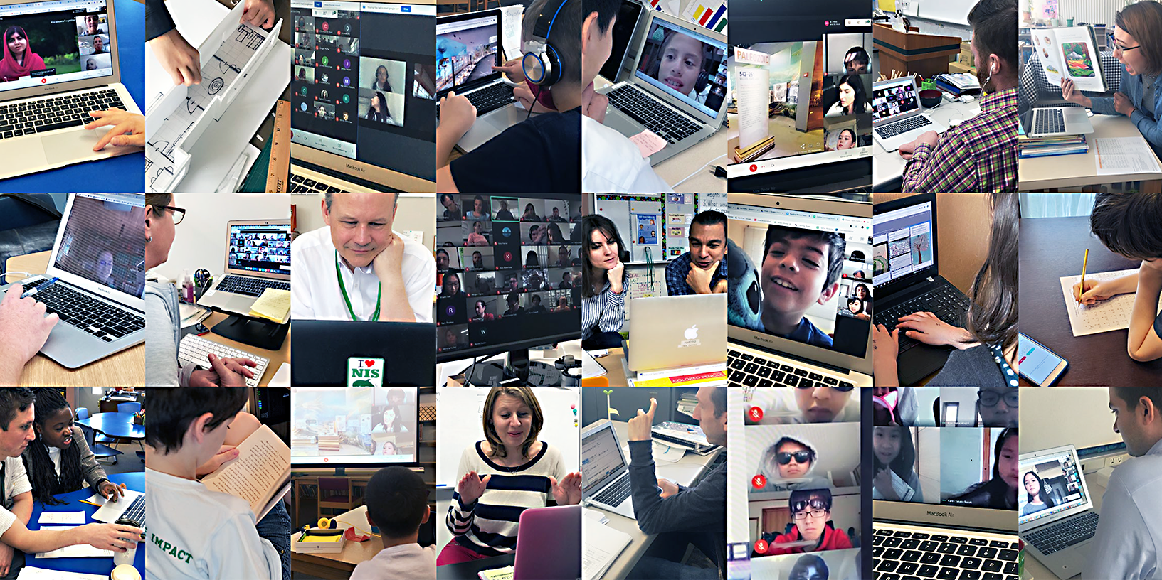 A photo collage of NIS teachers conducting online classes with their students